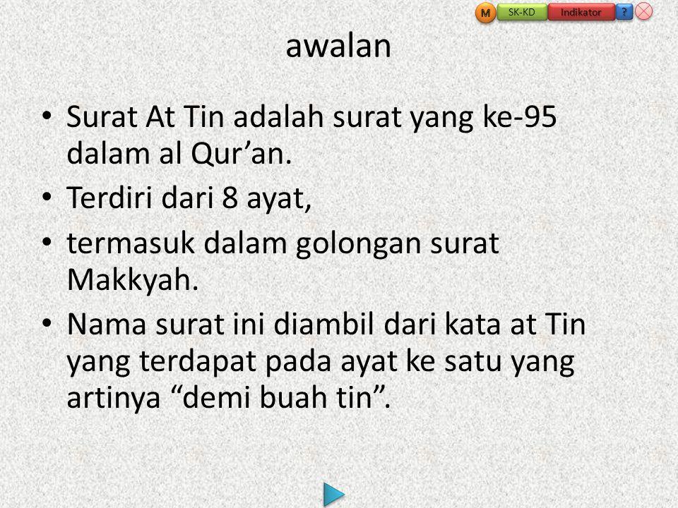 awalan • Surat At Tin adalah surat yang ke-95 dalam al Qur'an.