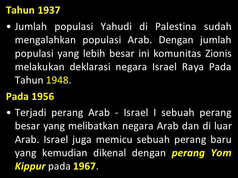 Tahun 1937 •Jumlah populasi Yahudi di Palestina sudah mengalahkan populasi Arab. Dengan jumlah populasi yang lebih besar ini komunitas Zionis melakuka