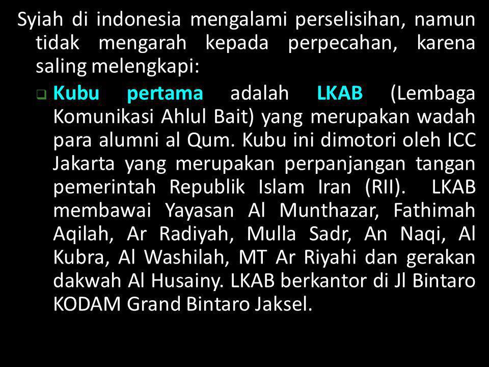 Syiah di indonesia mengalami perselisihan, namun tidak mengarah kepada perpecahan, karena saling melengkapi:  Kubu pertama adalah LKAB (Lembaga Komun
