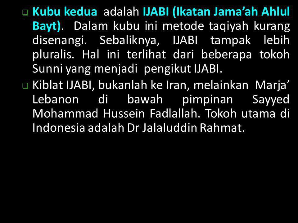  Kubu kedua adalah IJABI (Ikatan Jama'ah Ahlul Bayt). Dalam kubu ini metode taqiyah kurang disenangi. Sebaliknya, IJABI tampak lebih pluralis. Hal in