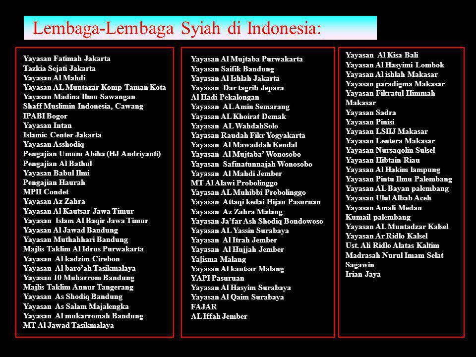 Lembaga-Lembaga Syiah di Indonesia: Yayasan Al Kisa Bali Yayasan Al Hasyimi Lombok Yayasan Al ishlah Makasar Yayasan paradigma Makasar Yayasan Fikratu