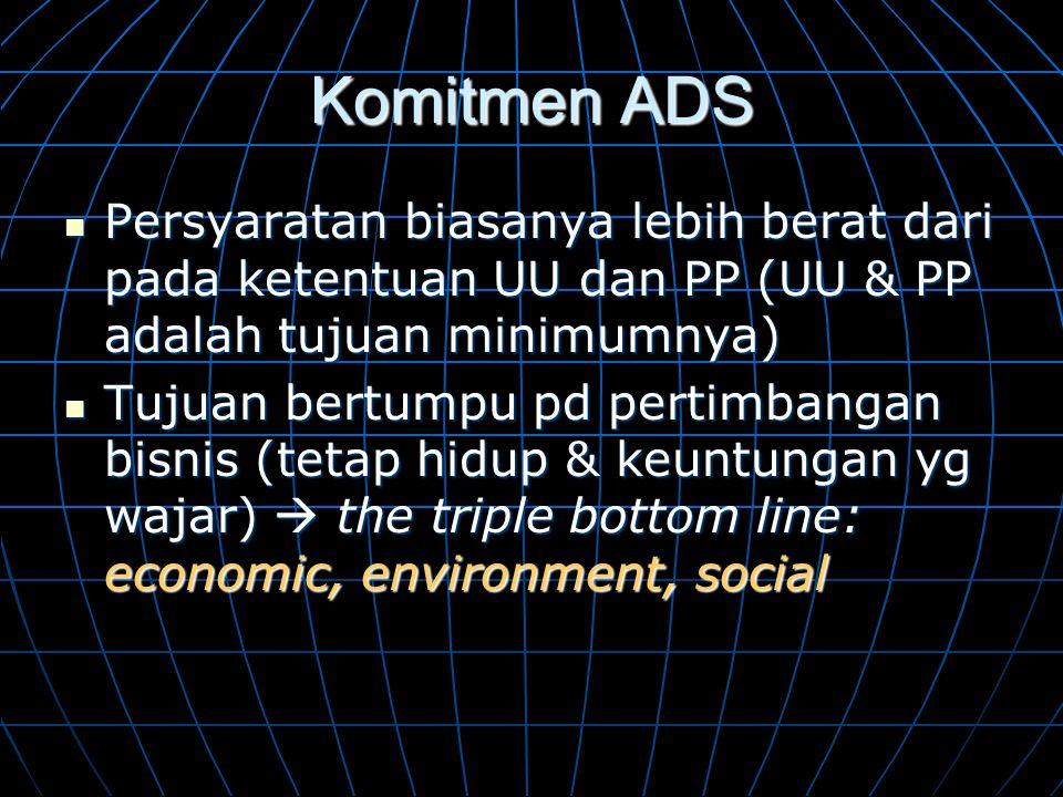 Komitmen ADS  Persyaratan biasanya lebih berat dari pada ketentuan UU dan PP (UU & PP adalah tujuan minimumnya)  Tujuan bertumpu pd pertimbangan bis