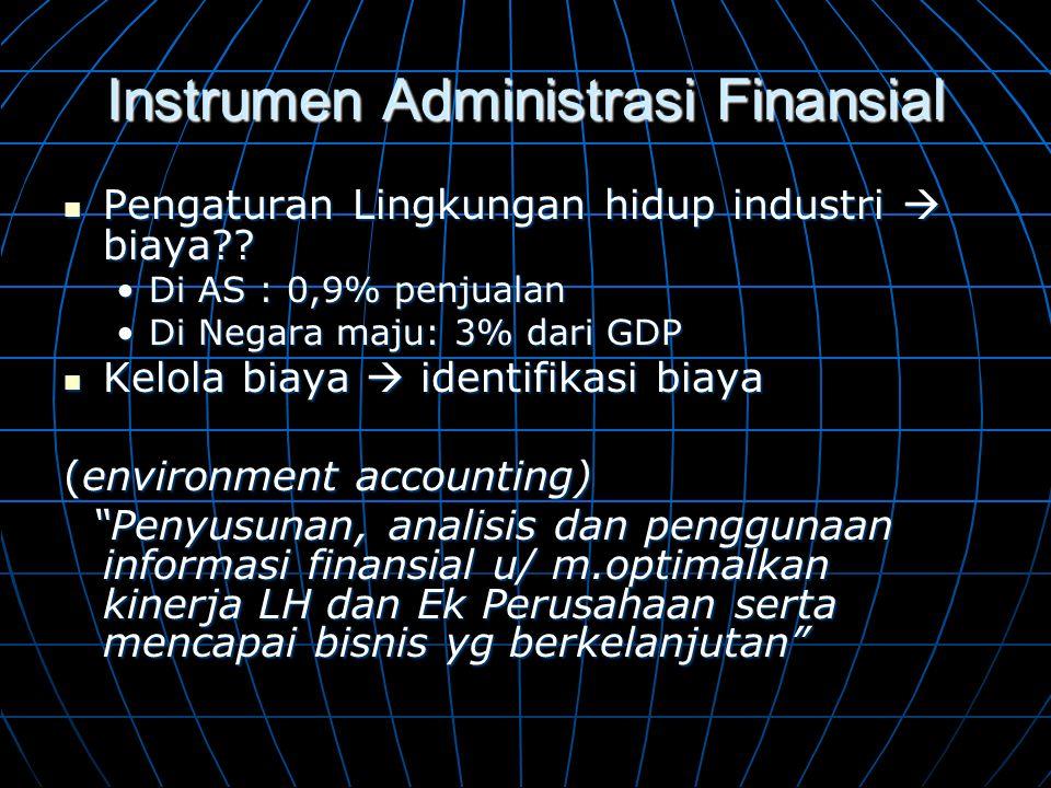 Instrumen Administrasi Finansial  Pengaturan Lingkungan hidup industri  biaya?? •Di AS : 0,9% penjualan •Di Negara maju: 3% dari GDP  Kelola biaya