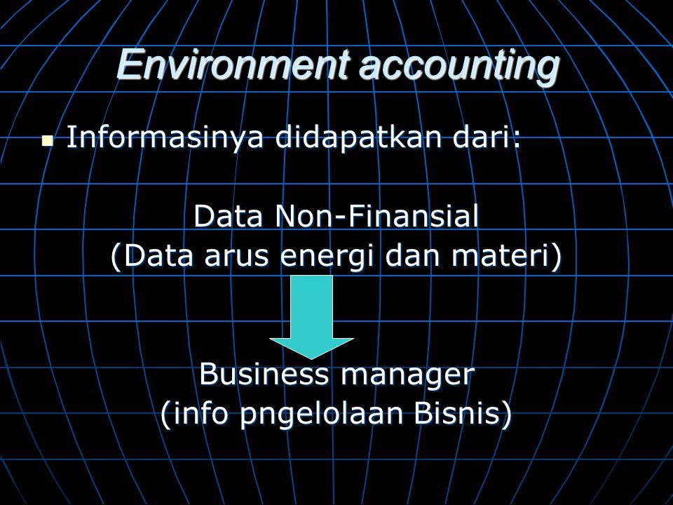 Environment accounting  Informasinya didapatkan dari: Data Non-Finansial (Data arus energi dan materi) Business manager (info pngelolaan Bisnis)