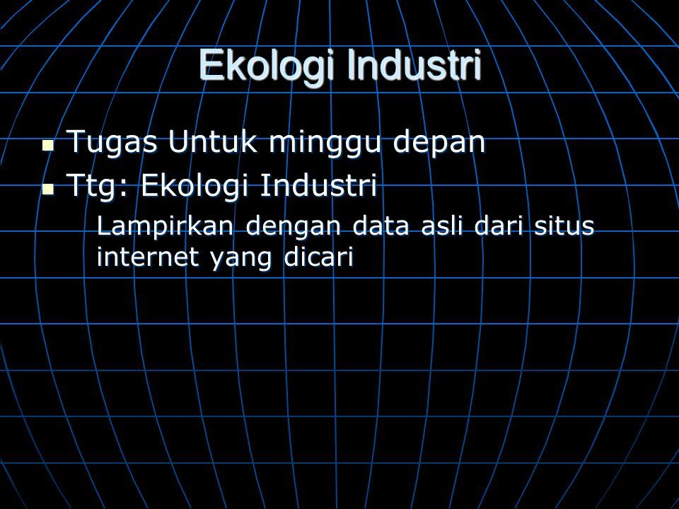 Ekologi Industri  Tugas Untuk minggu depan  Ttg: Ekologi Industri Lampirkan dengan data asli dari situs internet yang dicari