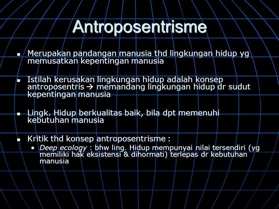 Antroposentrisme  Merupakan pandangan manusia thd lingkungan hidup yg memusatkan kepentingan manusia  Istilah kerusakan lingkungan hidup adalah kons