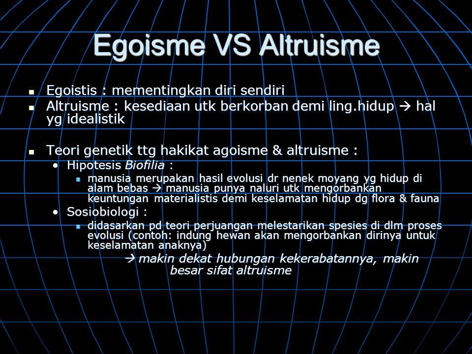 Egoisme VS Altruisme  Egoistis : mementingkan diri sendiri  Altruisme : kesediaan utk berkorban demi ling.hidup  hal yg idealistik  Teori genetik