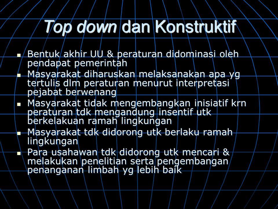Top down dan Konstruktif  Bentuk akhir UU & peraturan didominasi oleh pendapat pemerintah  Masyarakat diharuskan melaksanakan apa yg tertulis dlm pe