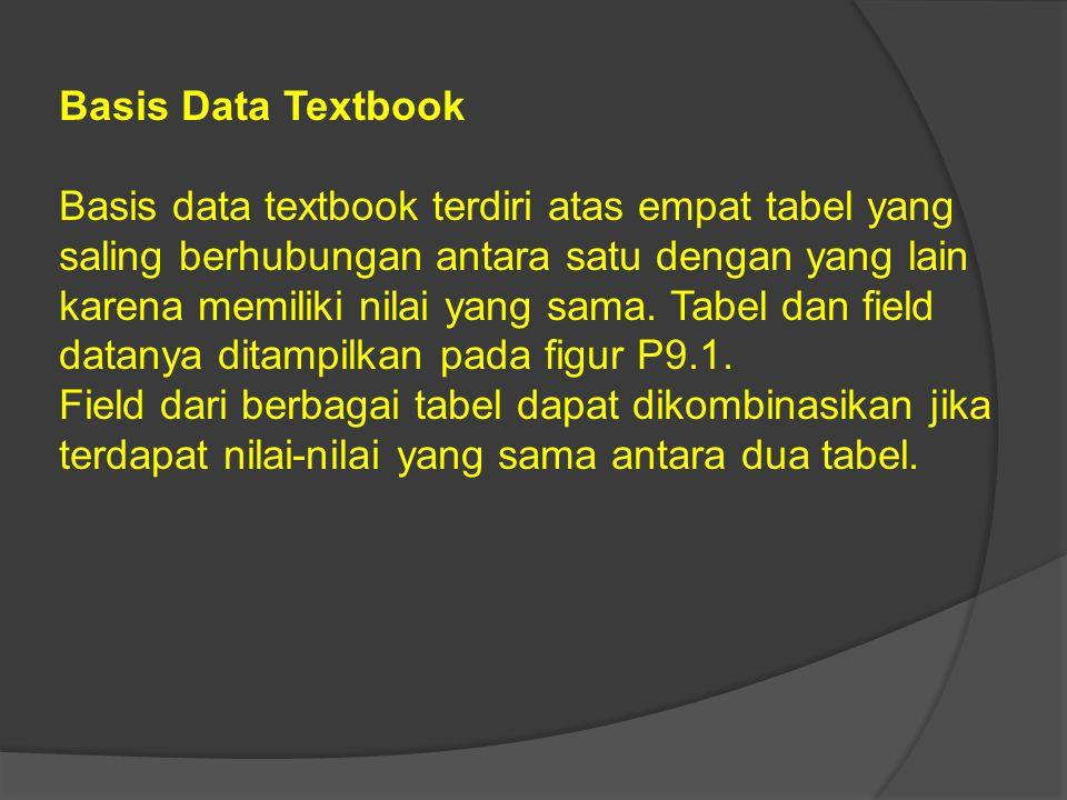 Basis Data Textbook Basis data textbook terdiri atas empat tabel yang saling berhubungan antara satu dengan yang lain karena memiliki nilai yang sama.
