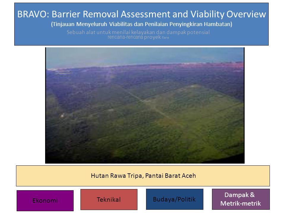 Sebuah alat untuk menilai kelayakan dan dampak potensial rencana-rencana proyek Rare BRAVO: Barrier Removal Assessment and Viability Overview (Tinjauan Menyeluruh Viabilitas dan Penilaian Penyingkiran Hambatan) Hutan Rawa Tripa, Pantai Barat Aceh Ekonomi Teknikal Budaya/Politik Dampak & Metrik-metrik