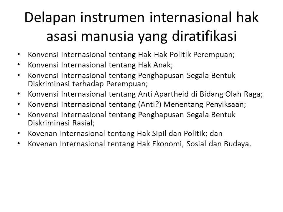 Delapan instrumen internasional hak asasi manusia yang diratifikasi • Konvensi Internasional tentang Hak-Hak Politik Perempuan; • Konvensi Internasional tentang Hak Anak; • Konvensi Internasional tentang Penghapusan Segala Bentuk Diskriminasi terhadap Perempuan; • Konvensi Internasional tentang Anti Apartheid di Bidang Olah Raga; • Konvensi Internasional tentang (Anti?) Menentang Penyiksaan; • Konvensi Internasional tentang Penghapusan Segala Bentuk Diskriminasi Rasial; • Kovenan Internasional tentang Hak Sipil dan Politik; dan • Kovenan Internasional tentang Hak Ekonomi, Sosial dan Budaya.