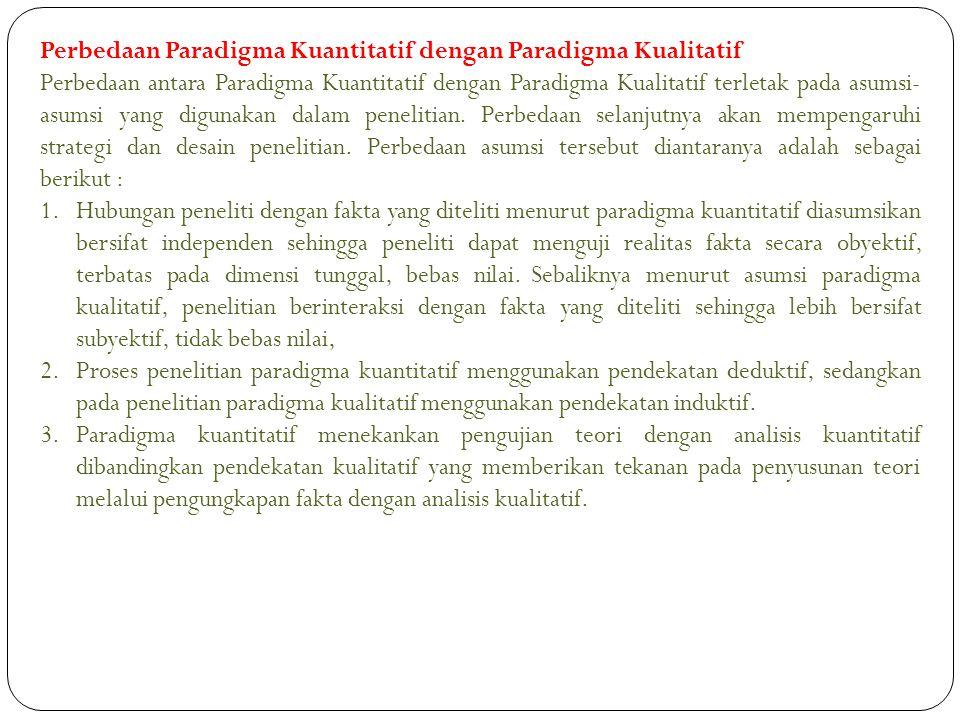 Perbedaan Paradigma Kuantitatif dengan Paradigma Kualitatif Perbedaan antara Paradigma Kuantitatif dengan Paradigma Kualitatif terletak pada asumsi- a