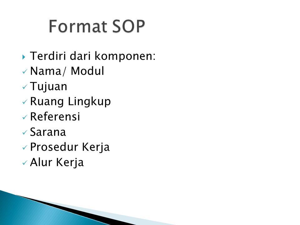  Terdiri dari komponen:  Nama/ Modul  Tujuan  Ruang Lingkup  Referensi  Sarana  Prosedur Kerja  Alur Kerja