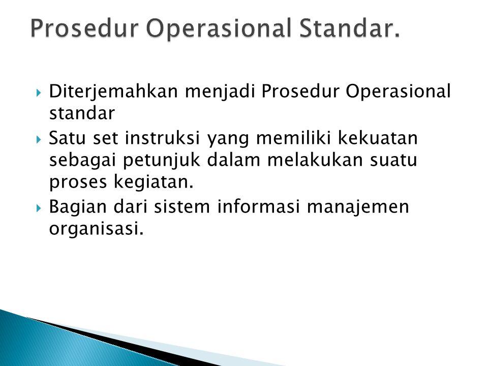  Diterjemahkan menjadi Prosedur Operasional standar  Satu set instruksi yang memiliki kekuatan sebagai petunjuk dalam melakukan suatu proses kegiata