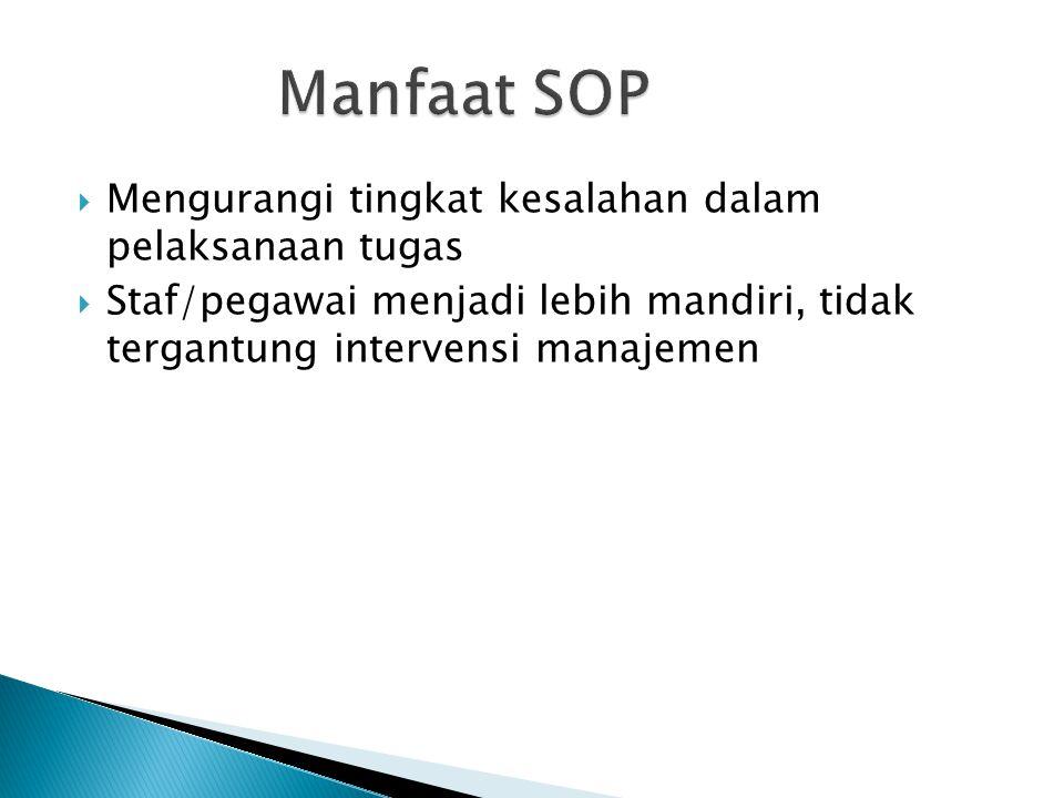  Tidak ada format yang baku untuk SOP  Dokumen tertulis yang menyatakan rincian pekerjaan masing-masing bagian  Berbentuk diagram alir/ alur kerja (flow chart)