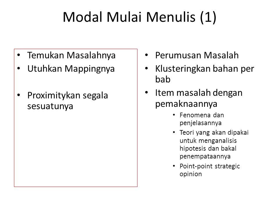 Modal Mulai Menulis (1) • Temukan Masalahnya • Utuhkan Mappingnya • Proximitykan segala sesuatunya • Perumusan Masalah • Klusteringkan bahan per bab •