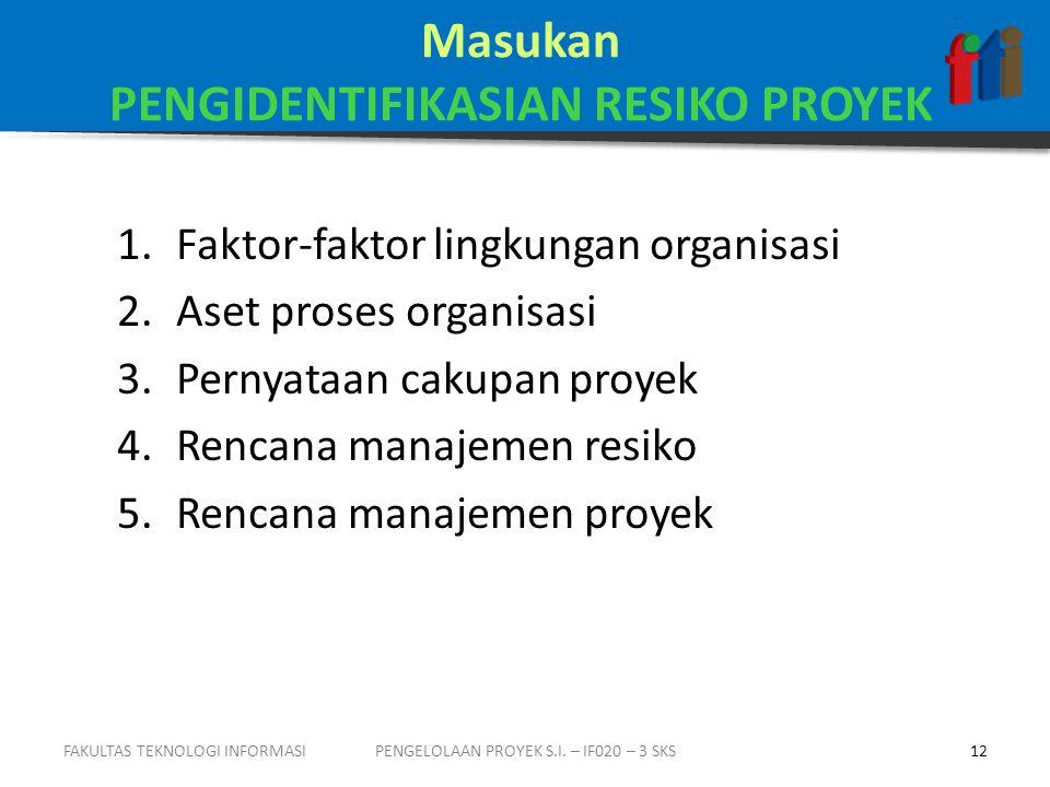 Masukan PENGIDENTIFIKASIAN RESIKO PROYEK 1.Faktor-faktor lingkungan organisasi 2.Aset proses organisasi 3.Pernyataan cakupan proyek 4.Rencana manajemen resiko 5.Rencana manajemen proyek PENGELOLAAN PROYEK S.I.