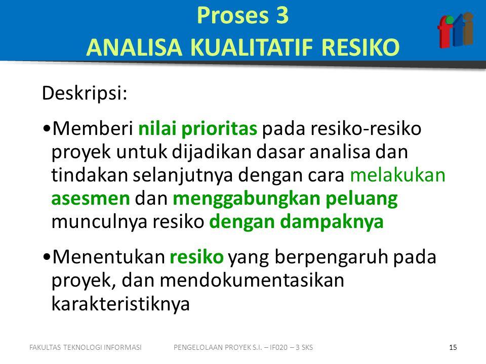 Proses 3 ANALISA KUALITATIF RESIKO Deskripsi: •Memberi nilai prioritas pada resiko-resiko proyek untuk dijadikan dasar analisa dan tindakan selanjutnya dengan cara melakukan asesmen dan menggabungkan peluang munculnya resiko dengan dampaknya •Menentukan resiko yang berpengaruh pada proyek, dan mendokumentasikan karakteristiknya 15PENGELOLAAN PROYEK S.I.