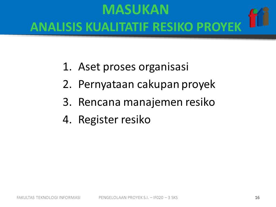 MASUKAN ANALISIS KUALITATIF RESIKO PROYEK 1.Aset proses organisasi 2.Pernyataan cakupan proyek 3.Rencana manajemen resiko 4.Register resiko PENGELOLAAN PROYEK S.I.