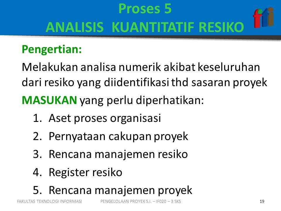 Proses 5 ANALISIS KUANTITATIF RESIKO Pengertian: Melakukan analisa numerik akibat keseluruhan dari resiko yang diidentifikasi thd sasaran proyek MASUKAN yang perlu diperhatikan: 1.Aset proses organisasi 2.Pernyataan cakupan proyek 3.Rencana manajemen resiko 4.Register resiko 5.Rencana manajemen proyek PENGELOLAAN PROYEK S.I.