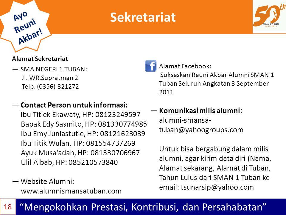 """Sekretariat """"Mengokohkan Prestasi, Kontribusi, dan Persahabatan"""" Ayo Reuni Akbar! 18 —SMA NEGERI 1 TUBAN: Jl. WR.Supratman 2 Telp. (0356) 321272 —Cont"""
