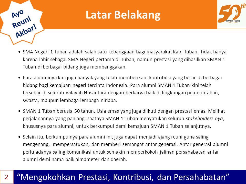 """Latar Belakang """"Mengokohkan Prestasi, Kontribusi, dan Persahabatan"""" Ayo Reuni Akbar! •SMA Negeri 1 Tuban adalah salah satu kebanggaan bagi masyarakat"""