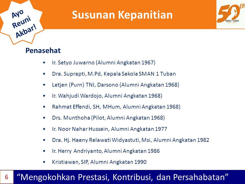 """Susunan Kepanitian """"Mengokohkan Prestasi, Kontribusi, dan Persahabatan"""" Ayo Reuni Akbar! •Ir. Setyo Juwarno (Alumni Angkatan 1967) •Dra. Suprapti, M.P"""