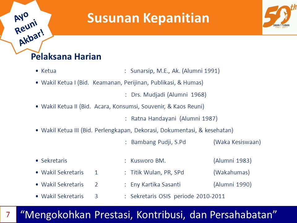 Sekretariat Mengokohkan Prestasi, Kontribusi, dan Persahabatan Ayo Reuni Akbar.