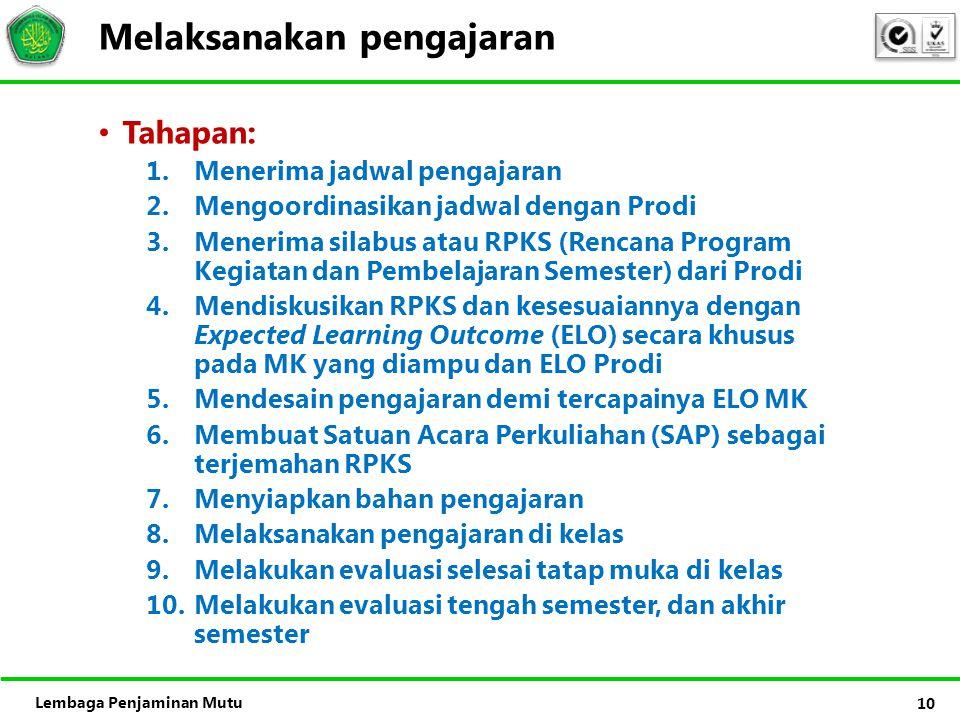 Lembaga Penjaminan Mutu Melaksanakan pengajaran • Tahapan: 1.Menerima jadwal pengajaran 2.Mengoordinasikan jadwal dengan Prodi 3.Menerima silabus atau