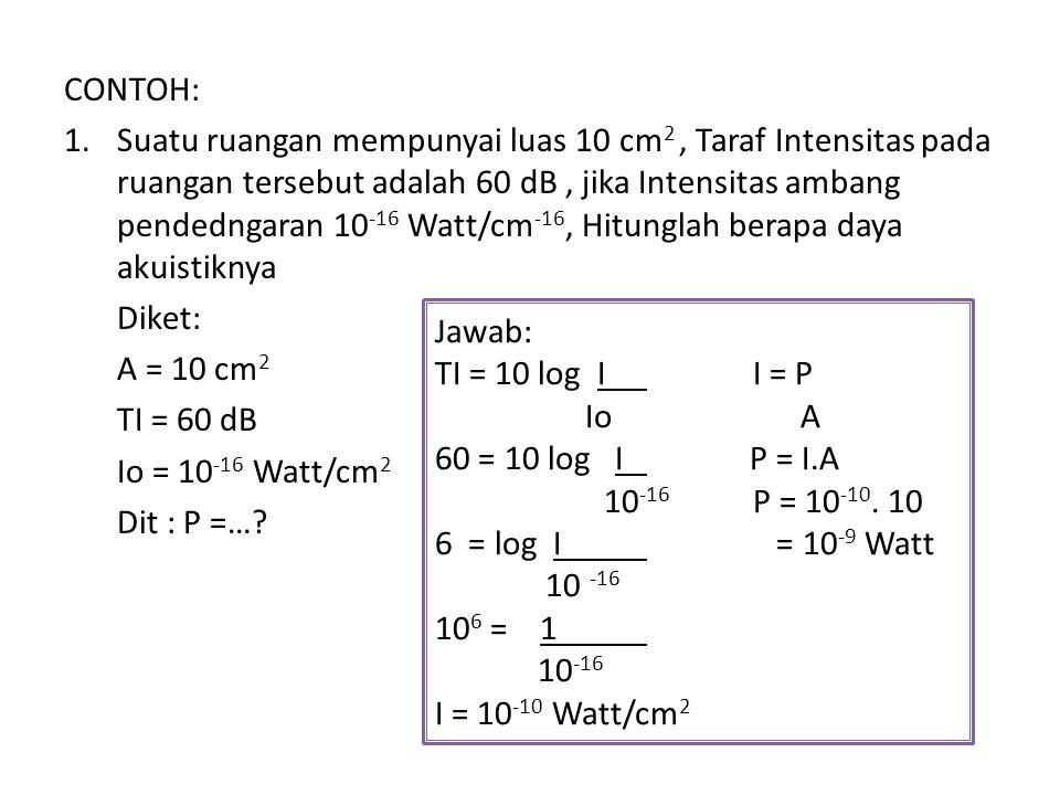 CONTOH: 1.Suatu ruangan mempunyai luas 10 cm 2, Taraf Intensitas pada ruangan tersebut adalah 60 dB, jika Intensitas ambang pendedngaran 10 -16 Watt/c