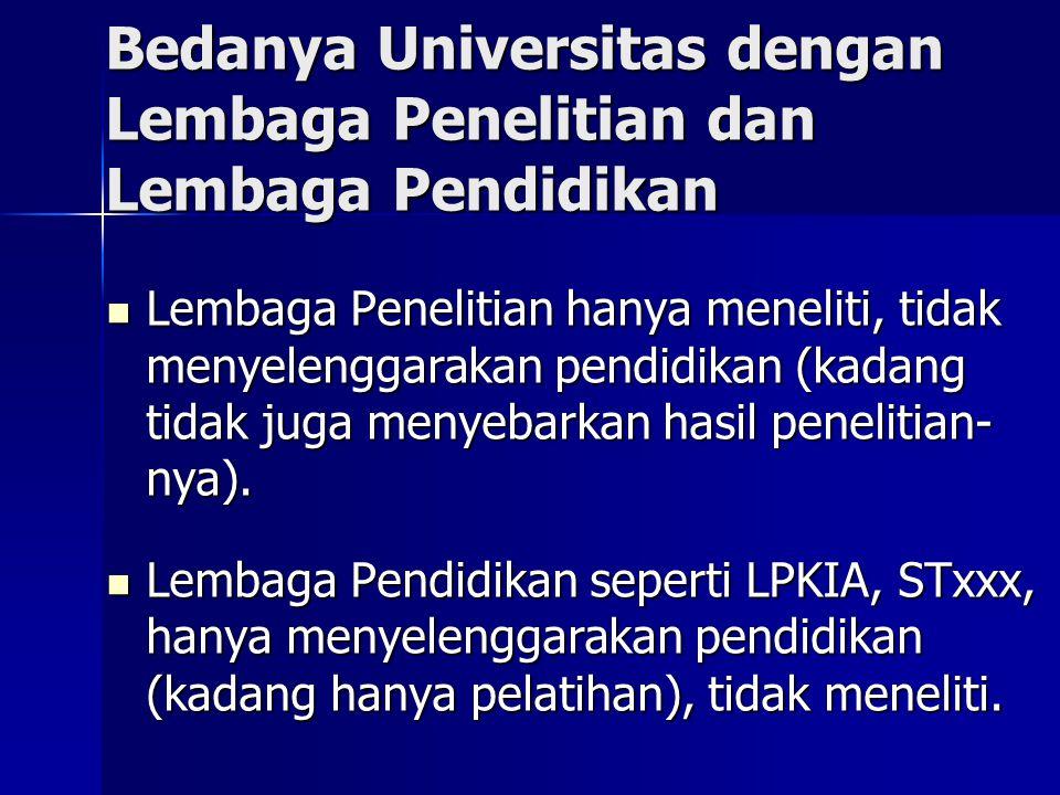 Bedanya Universitas dengan Lembaga Penelitian dan Lembaga Pendidikan  Lembaga Penelitian hanya meneliti, tidak menyelenggarakan pendidikan (kadang ti