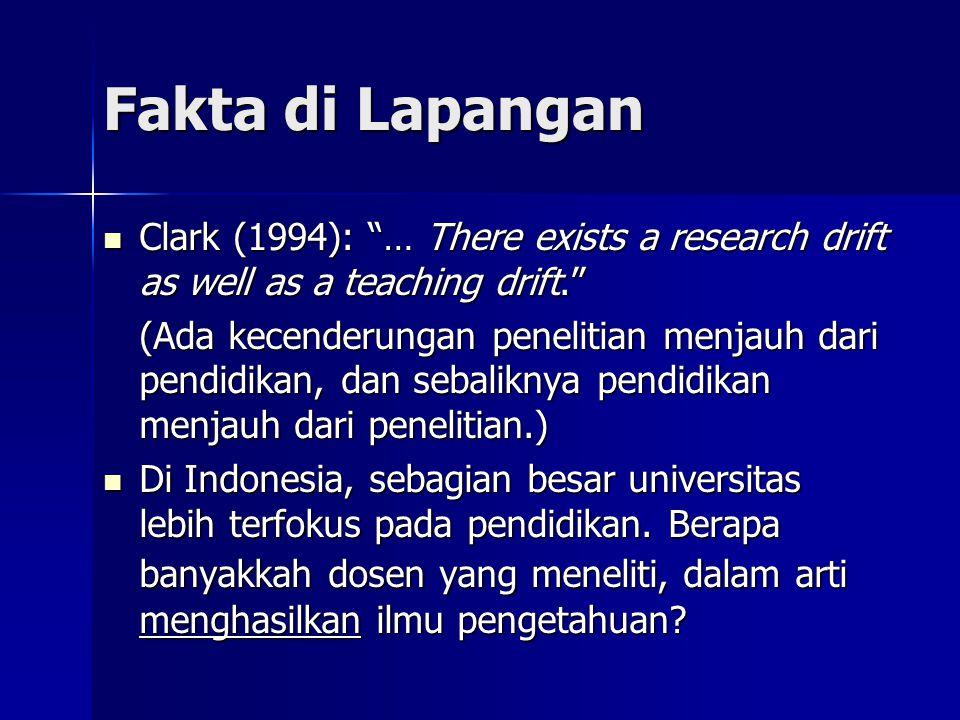 """Fakta di Lapangan  Clark (1994): """"… There exists a research drift as well as a teaching drift."""" (Ada kecenderungan penelitian menjauh dari pendidikan"""