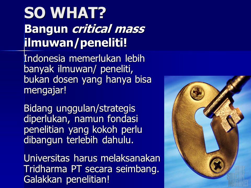 SO WHAT? Bangun critical mass ilmuwan/peneliti! Indonesia memerlukan lebih banyak ilmuwan/ peneliti, bukan dosen yang hanya bisa mengajar! Bidang ungg
