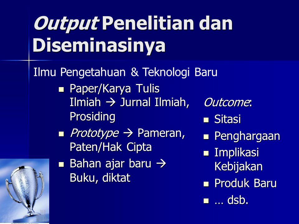Output Penelitian dan Diseminasinya  Paper/Karya Tulis Ilmiah  Jurnal Ilmiah, Prosiding  Prototype  Pameran, Paten/Hak Cipta  Bahan ajar baru  B