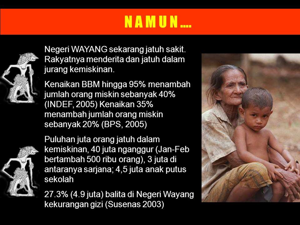 N A M U N …. Negeri WAYANG sekarang jatuh sakit. Rakyatnya menderita dan jatuh dalam jurang kemiskinan. Kenaikan BBM hingga 95% menambah jumlah orang