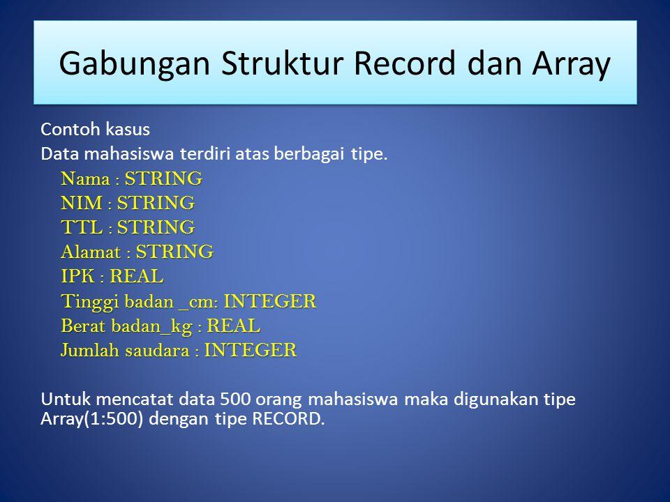 Gabungan Struktur Record dan Array Contoh kasus Data mahasiswa terdiri atas berbagai tipe. Nama : STRING NIM : STRING TTL : STRING Alamat : STRING IPK