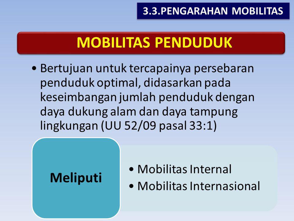 MOBILITAS PENDUDUK •Bertujuan untuk tercapainya persebaran penduduk optimal, didasarkan pada keseimbangan jumlah penduduk dengan daya dukung alam dan daya tampung lingkungan (UU 52/09 pasal 33:1) •Mobilitas Internal •Mobilitas Internasional Meliputi 3.3.PENGARAHAN MOBILITAS
