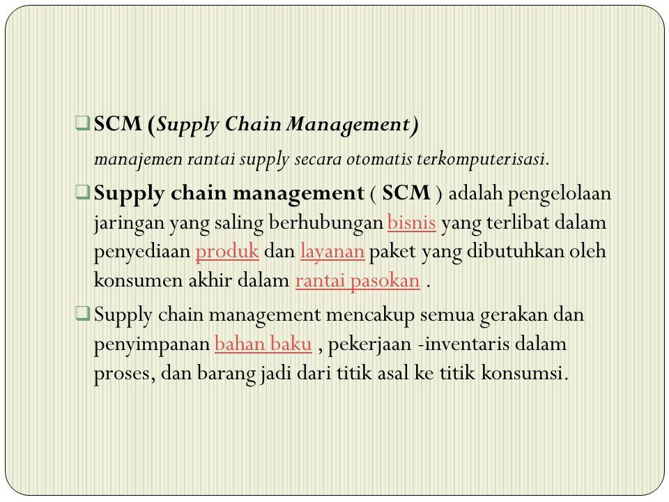  SCM (Supply Chain Management) manajemen rantai supply secara otomatis terkomputerisasi.