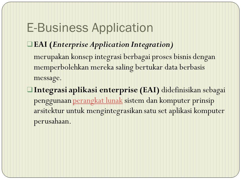 E-Business Application  EAI (Enterprise Application Integration) merupakan konsep integrasi berbagai proses bisnis dengan memperbolehkan mereka saling bertukar data berbasis message.