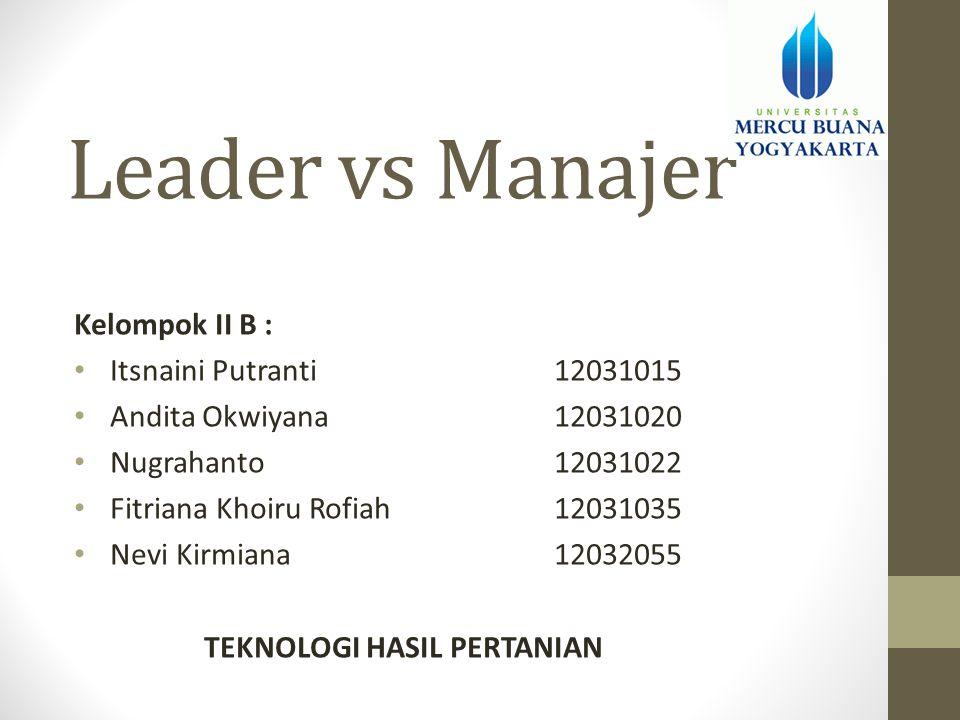 Leader vs Manajer Kelompok II B : • Itsnaini Putranti12031015 • Andita Okwiyana12031020 • Nugrahanto12031022 • Fitriana Khoiru Rofiah12031035 • Nevi K