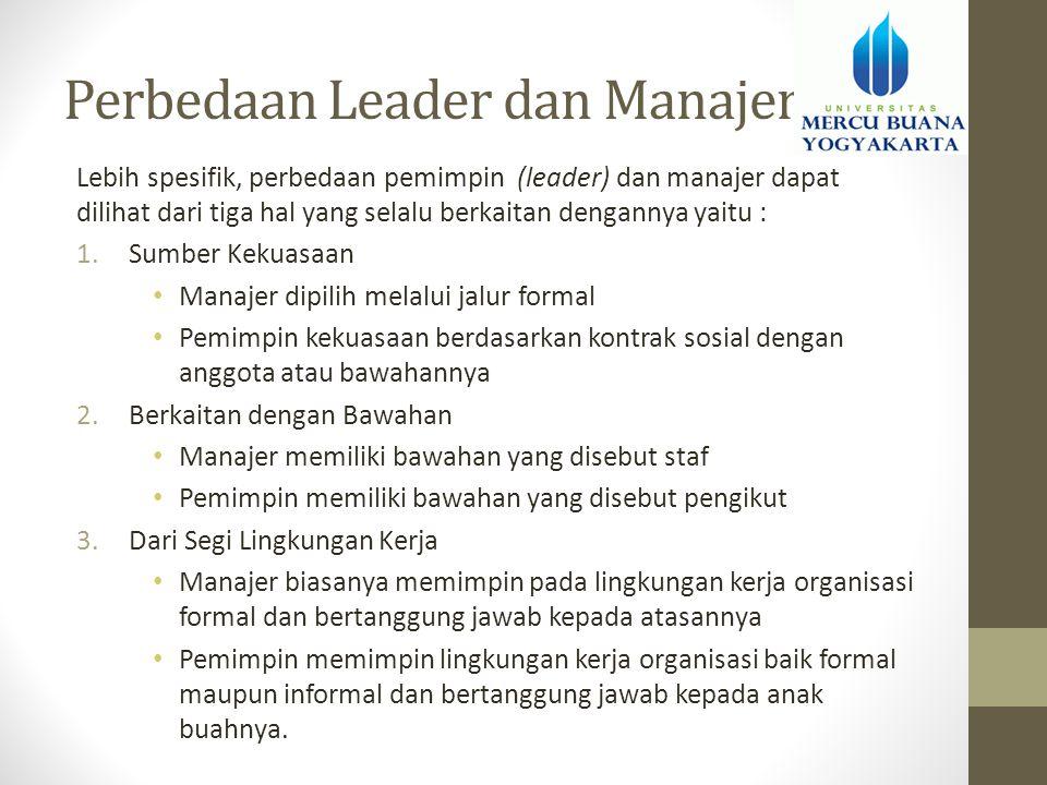 Perbedaan Leader dan Manajer Lebih spesifik, perbedaan pemimpin (leader) dan manajer dapat dilihat dari tiga hal yang selalu berkaitan dengannya yaitu