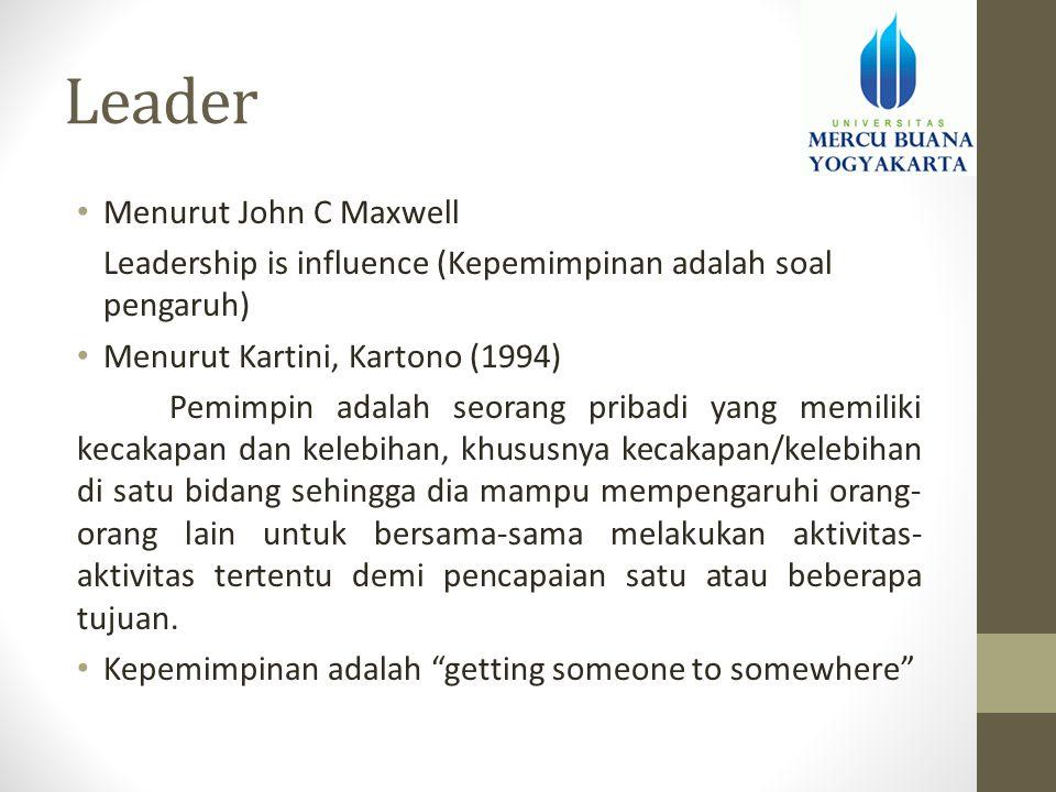 Leader • Menurut John C Maxwell Leadership is influence (Kepemimpinan adalah soal pengaruh) • Menurut Kartini, Kartono (1994) Pemimpin adalah seorang