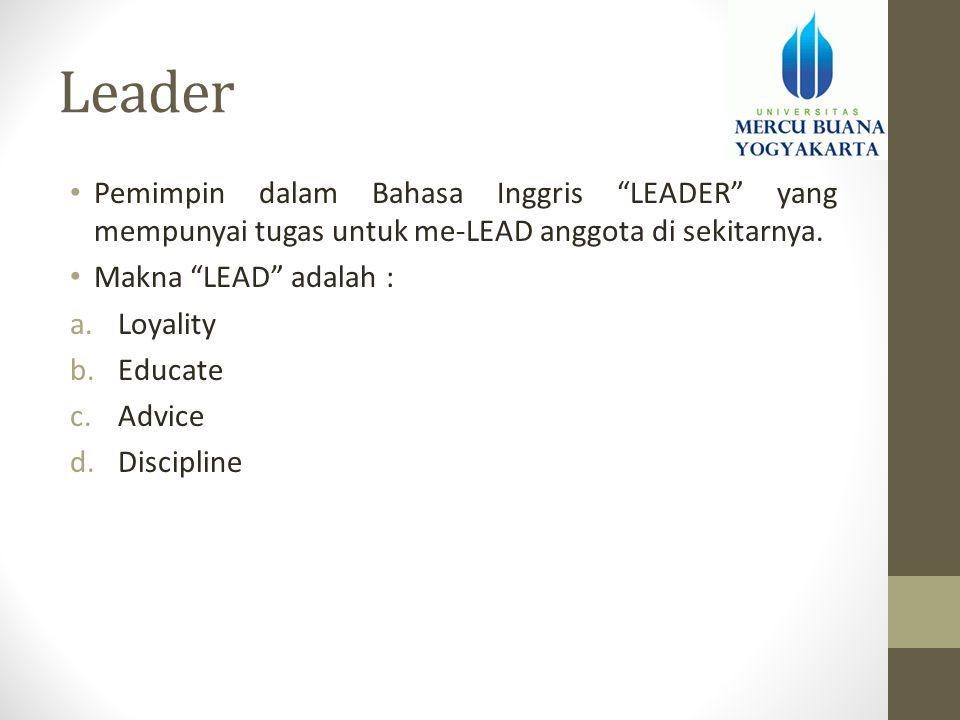 "Leader • Pemimpin dalam Bahasa Inggris ""LEADER"" yang mempunyai tugas untuk me-LEAD anggota di sekitarnya. • Makna ""LEAD"" adalah : a.Loyality b.Educate"