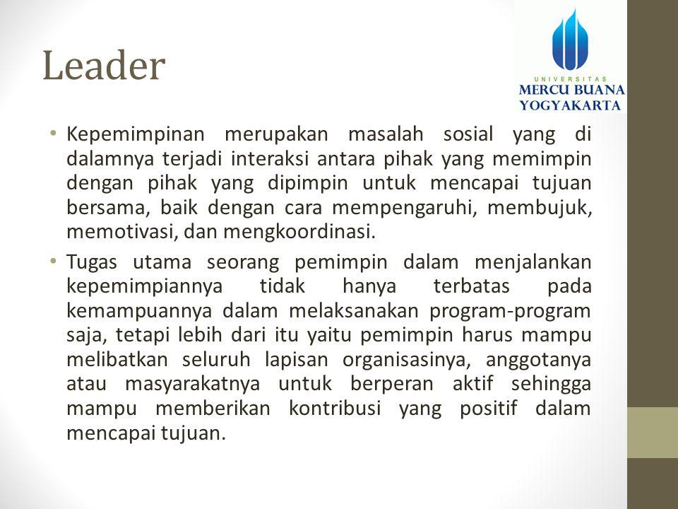 Leader • Kepemimpinan merupakan masalah sosial yang di dalamnya terjadi interaksi antara pihak yang memimpin dengan pihak yang dipimpin untuk mencapai