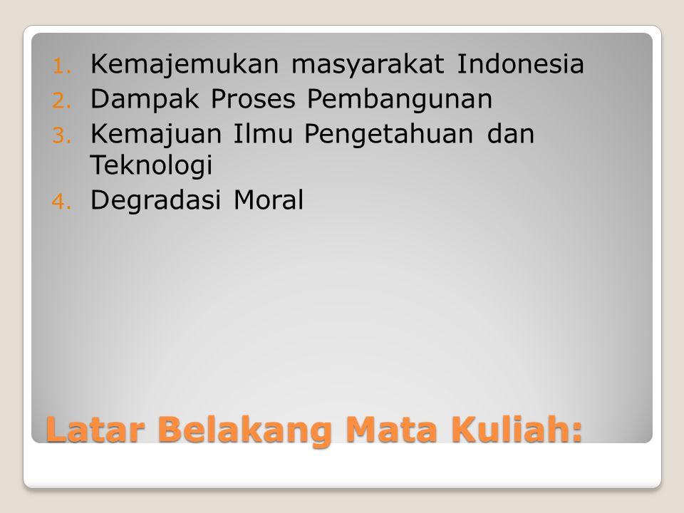 Latar Belakang Mata Kuliah: 1.Kemajemukan masyarakat Indonesia 2.