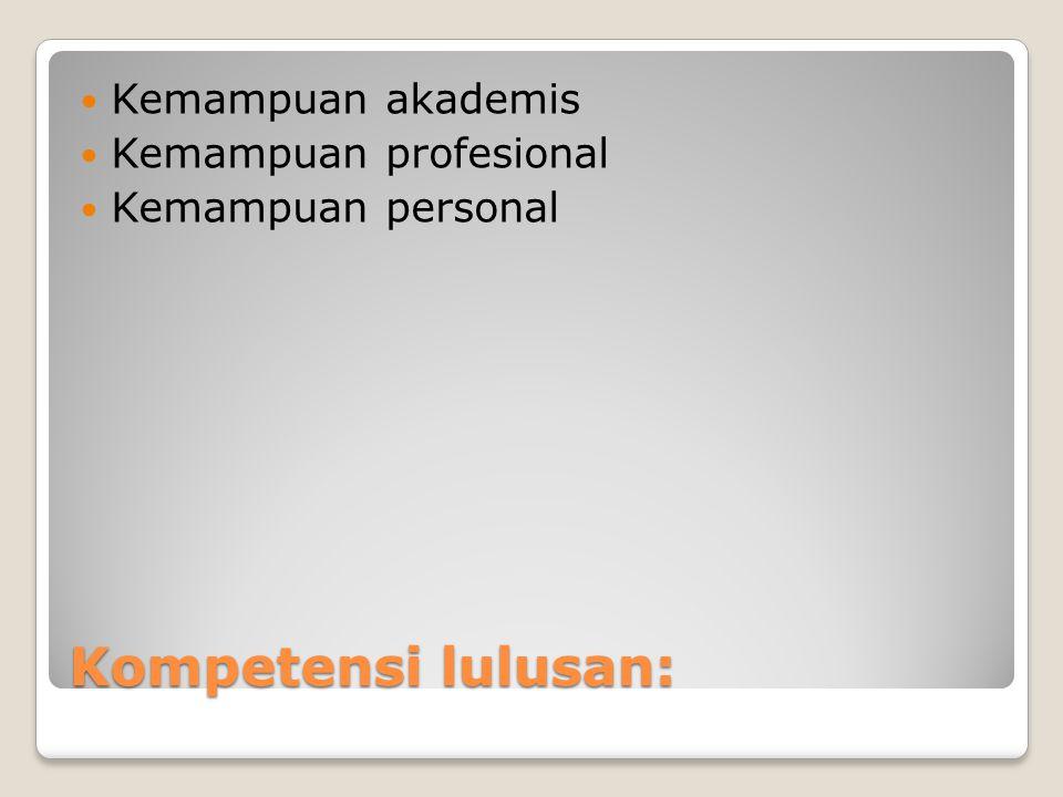 Kompetensi lulusan:  Kemampuan akademis  Kemampuan profesional  Kemampuan personal