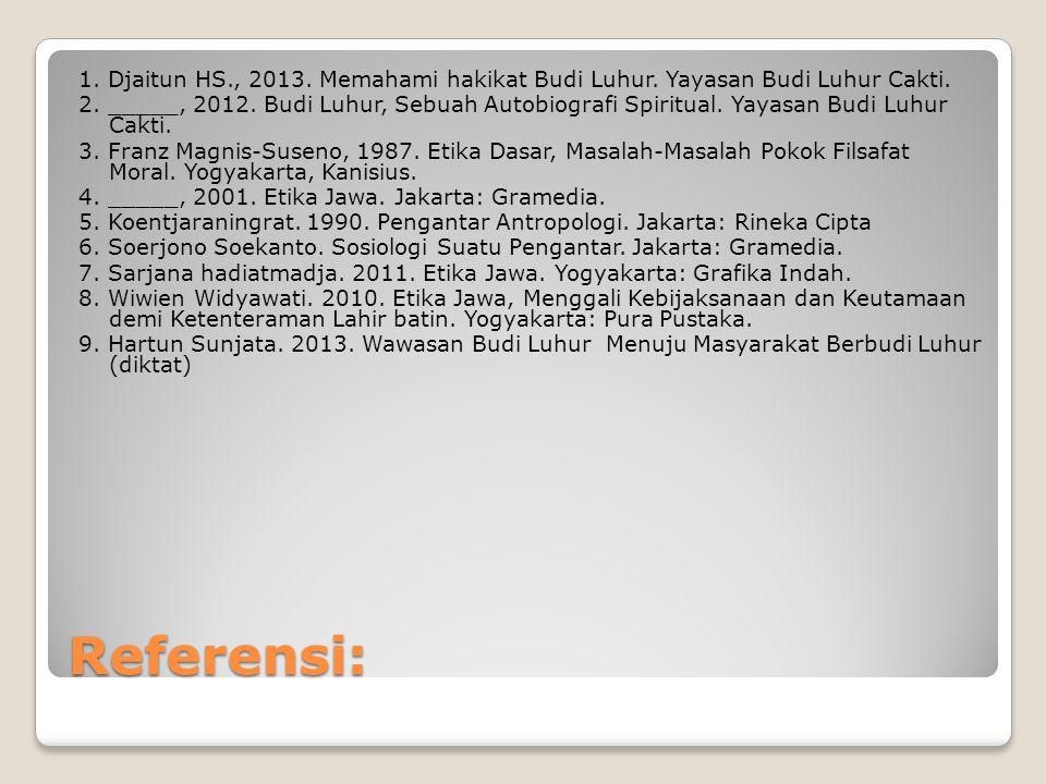 Referensi: 1.Djaitun HS., 2013. Memahami hakikat Budi Luhur.