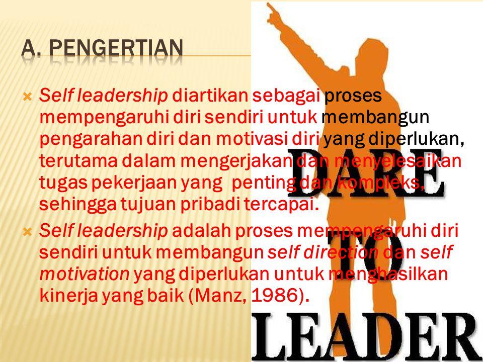 Self leadership diartikan sebagai proses mempengaruhi diri sendiri untuk membangun pengarahan diri dan motivasi diri yang diperlukan, terutama dalam