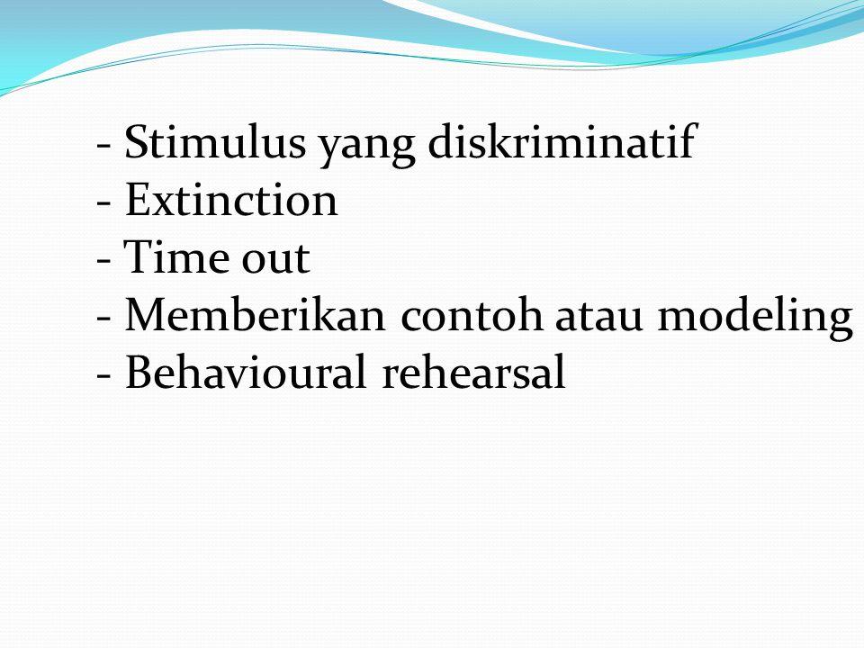 - Stimulus yang diskriminatif - Extinction - Time out - Memberikan contoh atau modeling - Behavioural rehearsal