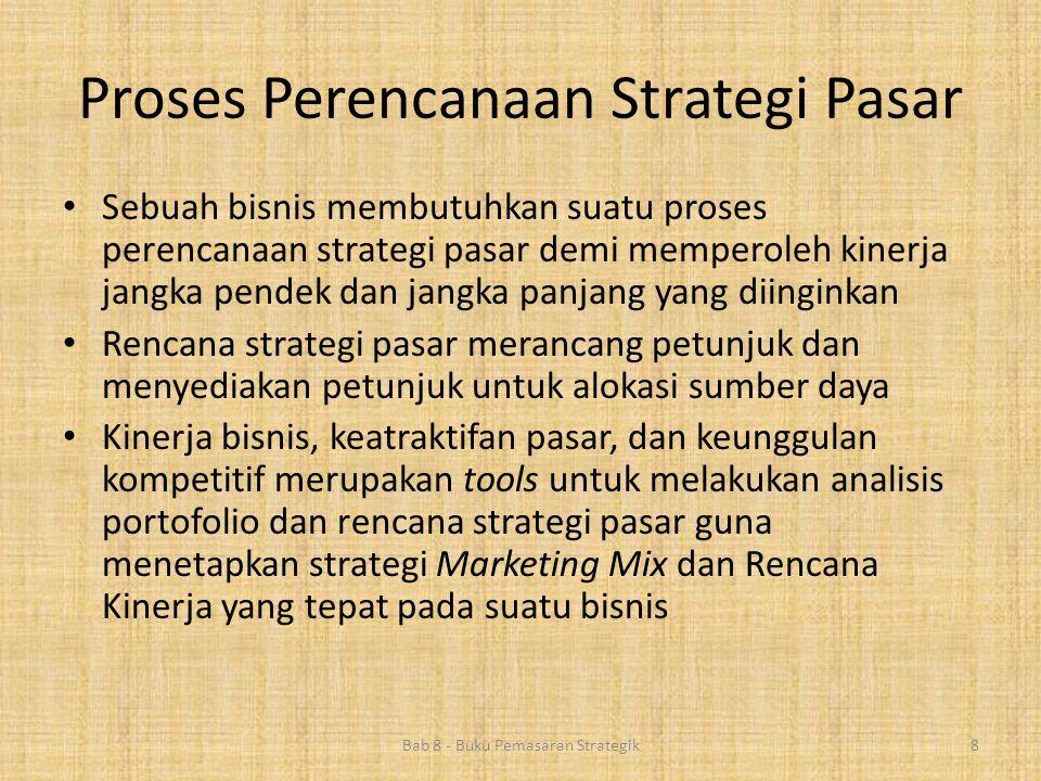 Proses Perencanaan Strategi Pasar Bab 8 - Buku Pemasaran Strategik8 • Sebuah bisnis membutuhkan suatu proses perencanaan strategi pasar demi memperole